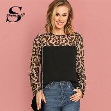70a76026a4da5e Sheinside Ladies Long Sleeve Blouse Shirt Women Semi Sheer Leopard Yoke Top  Patchwork Autumn Shirts Womens Tops And Blouses