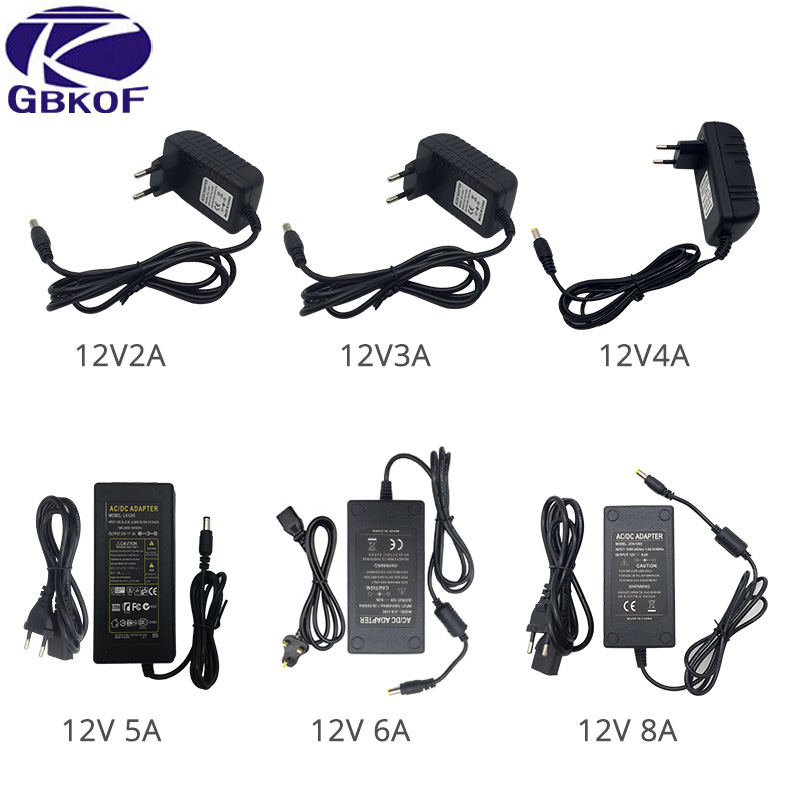 100-240V AC to DC Power Supply Charger Transformer Adapter 12V 1A 2A 3A 5A 6A 8A US EU Plug 55mm x 25mm for LED Strip Light