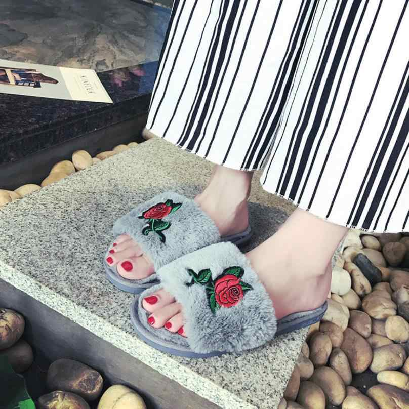2017 herbst Winter Schlafzimmer Hausschuhe Luxus Männer Frauen Indoor Plüsch Warme Bequeme Flache Ferse Schuhe Hause Wohnungen Slip Widerstand