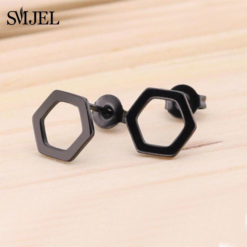 SMJEL, модные богемные ювелирные изделия из старинных серег, милые черные геометрические круглые серьги-гвоздики из нержавеющей стали, лучший подарок для женщин и девушек - Окраска металла: GED023
