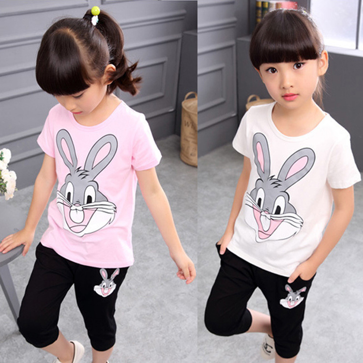 Children Clothing Sets New Girl Sports Suit Cotton Summer Short Sleeve Rabbit Shirt+Harem Pants Kids Girl Clothes Suits 2pcs/set