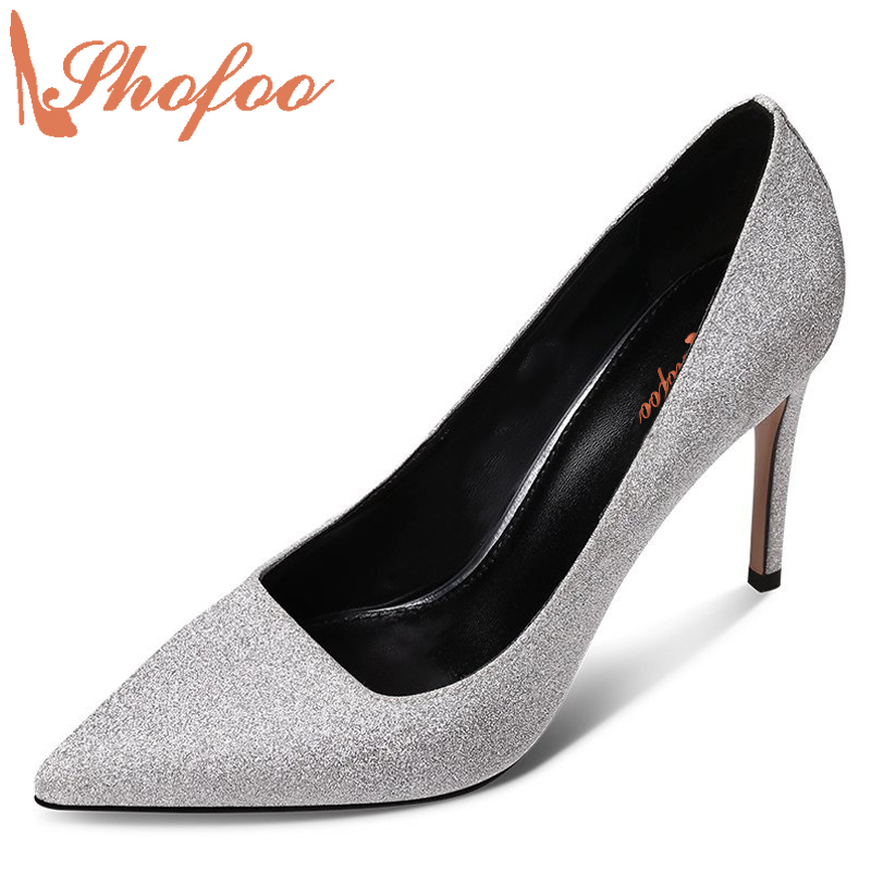Shofoo 2017 Newest Women Elegant High Heels Pointed Toe Pumps For Woman Wedding&Dress&Party&Evening Shoes, Plus Size 4-16.  shofoo newest women shoes med heels pointed toe pumps for woman dress