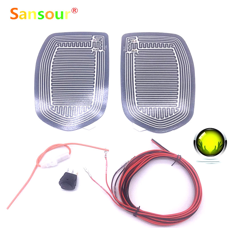 Sansour DC 12V Car Electric Mirror Glass Heated Pad Mat Defoggers Remove Frost Vehicle Side Mirror Glass Heat Heating Pad x 2pcs