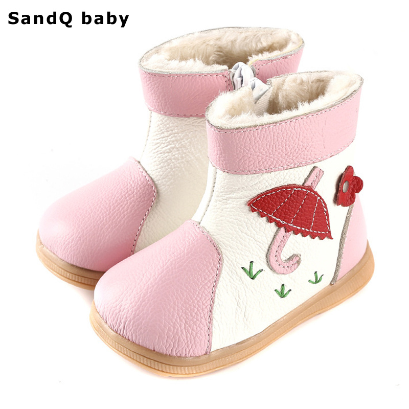 2017 New Winter Fashion Girls Boots Genuine Leather Kids Shoes Thickening Warm Round Toe Children Shoes
