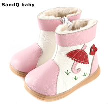 2017 New Winter Fashion Girls Boots Genuine Leather Kids Shoes Thickening Warm Round Toe Children Shoes Velvet Girls Snow Boots