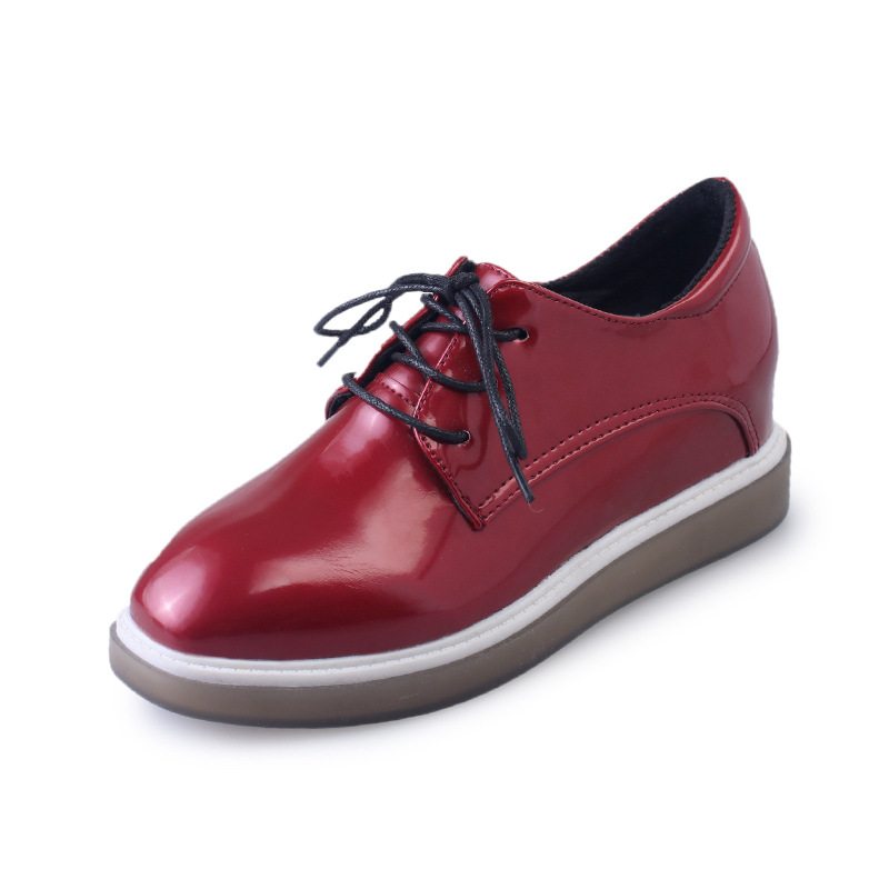 Women Platform Oxfords Flats Shoes Patent Leather Lace Up Square Toe Luxury Brand Red Black Creepers British Style Size 35-39