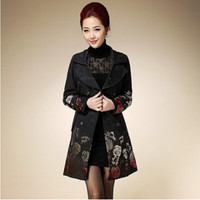 2015 Sping&Autumn Trench Coat Female Double Breasted Trench Coat for Woman Embroidered Rose Jacquard Medium long Woman Overcoat