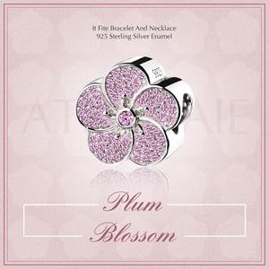 Image 2 - ATHENAIE hakiki 925 ayar gümüş açacağı pembe CZ erik çiçeği göz alıcı boncuk Fit tüm avrupa bilezikler kolye renk pembe