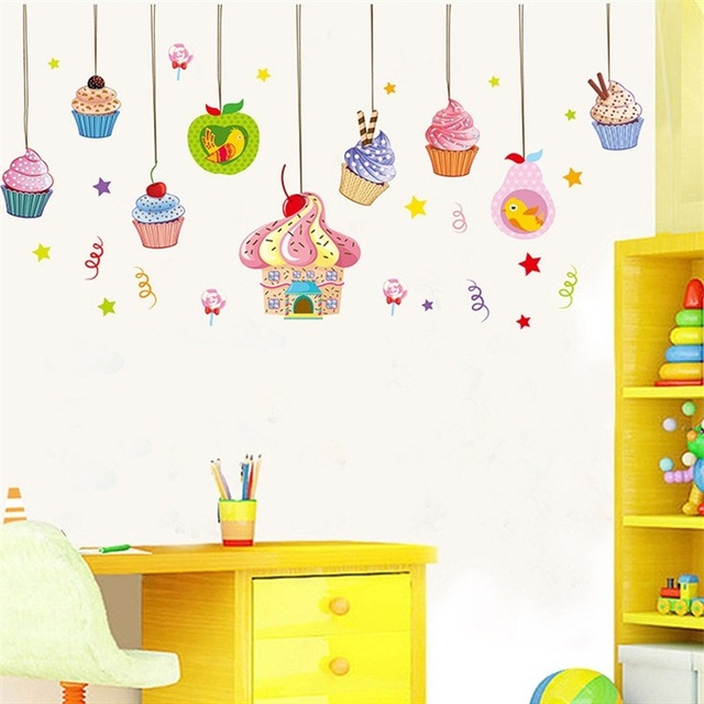 Large candy wall stickers delicious cake decor ice cream wallpaper birthday party decorations home store window