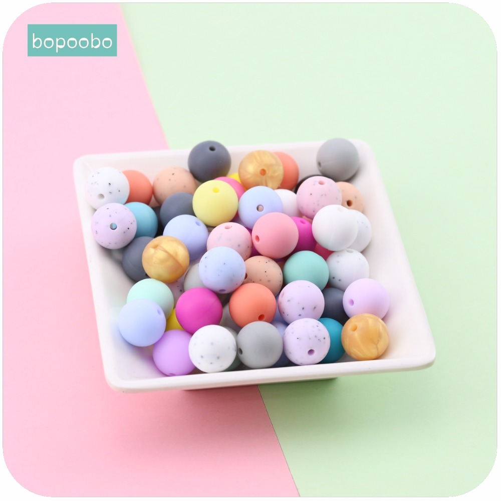 Bopoobo Baby Care Accessories Silicone Beads 12mm 10pc Food Grade Teether DIY Jewelry Crib Toy Nursing Bracelet Baby Teether