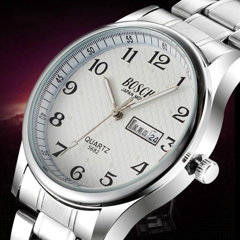 Prix pour Top Marque De Luxe Hommes de Montre Date Jour En Acier Inoxydable Relojes Lumineux Heure Robe Hommes Montre À Quartz Occasionnel 2016 Sport montre-bracelet