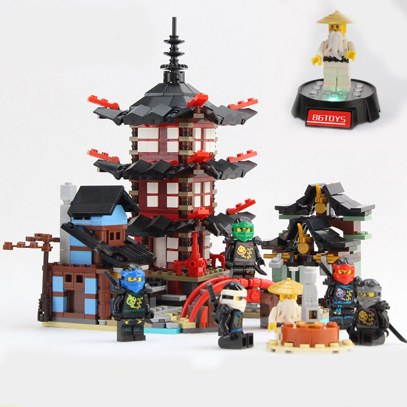 Lepin Ninja Temple of Airjitzu Smaller Version Bozhi 737 pcs Blocks Set Compatible with Lepin Toys for Children Building Bricks lepin 06058 ninja serie die tempel der ultimative ultimative waffe modell bausteine set kompatibel 70617 spielzeug fur kinder