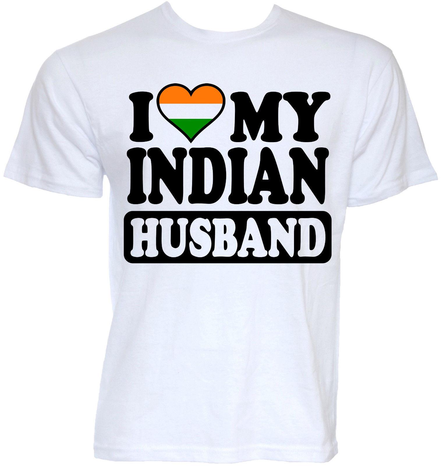 MENS FUNNY COOL NOVELTY INDIAN HUSBAND INDIA FLAG T-SHIRTS JOKE GIFTS PRESENTS Short Sleeve Discount 100 % Cotton T Shirts
