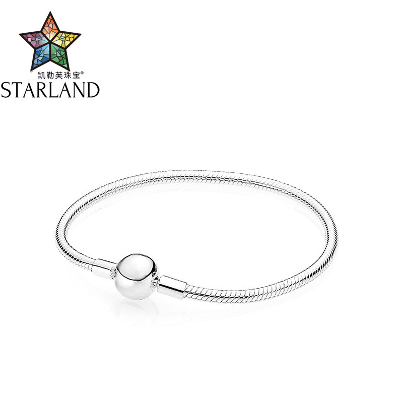 Starland Fine Sterling Silver 925 Classic Round Head Snake Chain Charm Bracelet & Bangle For Original brand Jewelry 16cm-21cmStarland Fine Sterling Silver 925 Classic Round Head Snake Chain Charm Bracelet & Bangle For Original brand Jewelry 16cm-21cm