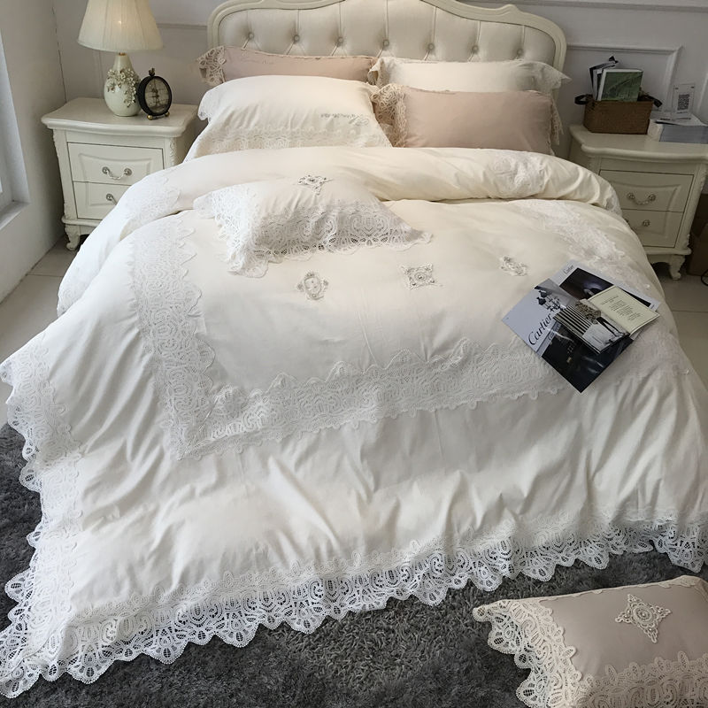 White Pink Light Yellow Luxury Bedding Set Lace Style Embroidery Duvet Cover Satin