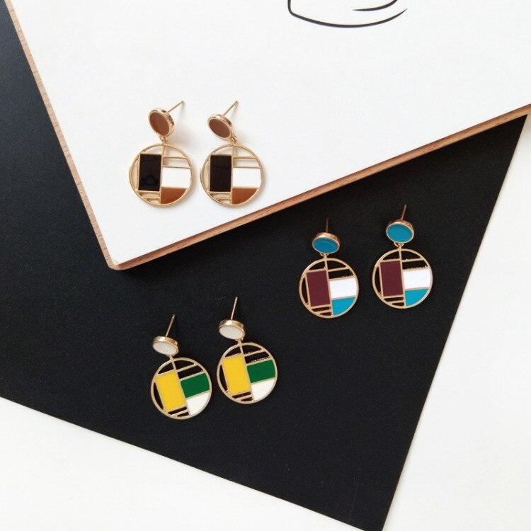 New Women Fashion Geometric Circular Earrings Simple Long Dripping Oil Earrings Rectangle Splicing Irregular Ear Clip