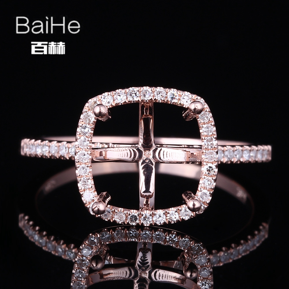 BAIHE Solid 14K Rose Gold(AU585) Certified Cushion Cut Engagement Women Vintage Fine Jewelry Elegant unique Semi Mount Gift RingBAIHE Solid 14K Rose Gold(AU585) Certified Cushion Cut Engagement Women Vintage Fine Jewelry Elegant unique Semi Mount Gift Ring