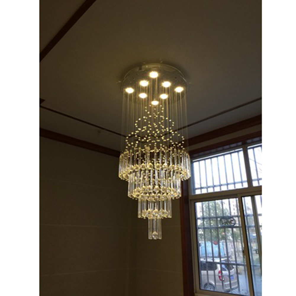 Crystal chandelier living room round hall villa duplex floor staircase chandeliers long hanging line lamp creative personality private villa living room chair retail