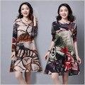 Women Dress 2017 Autumn Winter Slim Thin Cotton and Linen Dress Fashion Printing Knee Dress Korean Large size Women Dress AB509