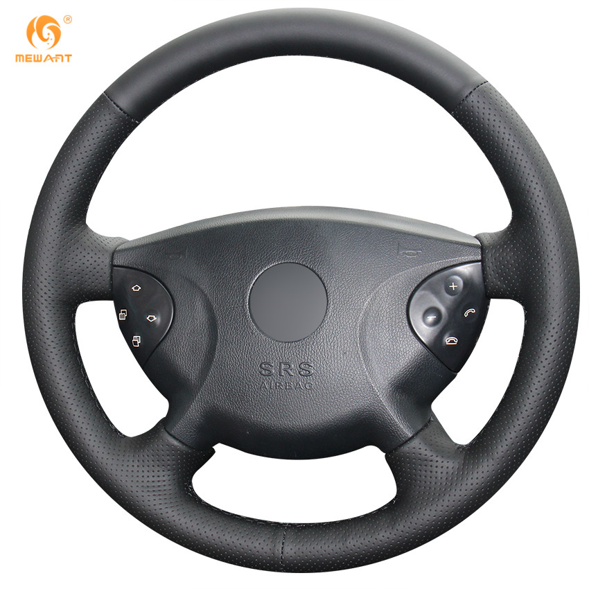 Mewant black artificial leather car steering wheel cover for Mercedes benz steering wheel cover