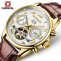 relogio masculino CARNIVAL Luxury Brand Tourbillon Automatic Watches Men Military Sport Leather Strap Waterproof Mechanical Watc