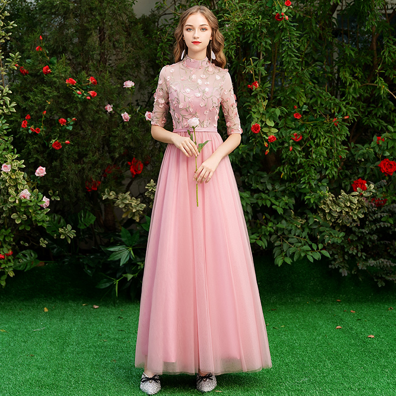 Image 3 - Beauty Emily Long Grey Bridesmaid Dresses 2019 Long for Women Sweep Train Vestidos Para Festa A line  Wedding Party Prom Dress-in Bridesmaid Dresses from Weddings & Events