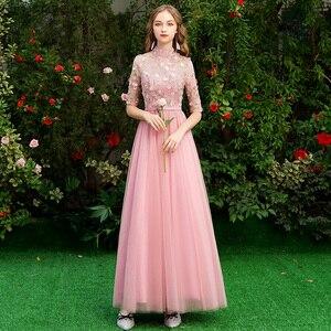 Image 3 - Schoonheid Emily Lange Grey Bruidsmeisjekleding 2020 Lange Voor Vrouwen Sweep Trein Vestidos Para Festa A lijn Wedding Party Prom Dress