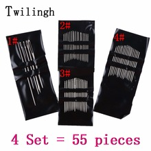 4 Set =  ( 55PCS) Brand Sewing Needle Stainless Steel Sew On Needles Pins Home DIY Craft Tool Hand Accessories