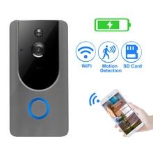 Campainha de vídeo segurança ip 720p, interfone sem fio wi fi câmera alarme de detecção de movimento conversa áudio à prova d água cartão sd