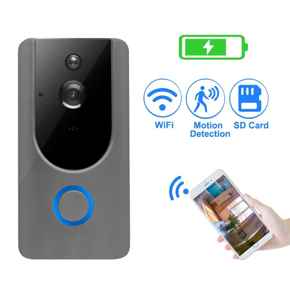 Sonnette vidéo 720 P IP interphone de sécurité sans fil WIFI porte cloche caméra détection de mouvement alarme Audio parler étanche carte SD