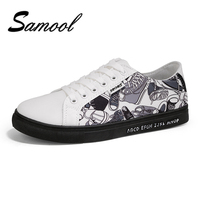 Samool Men S Casual Canvas Shoes Print Graffiti Male Breathable Lace Up Style Trend Footwear Driving