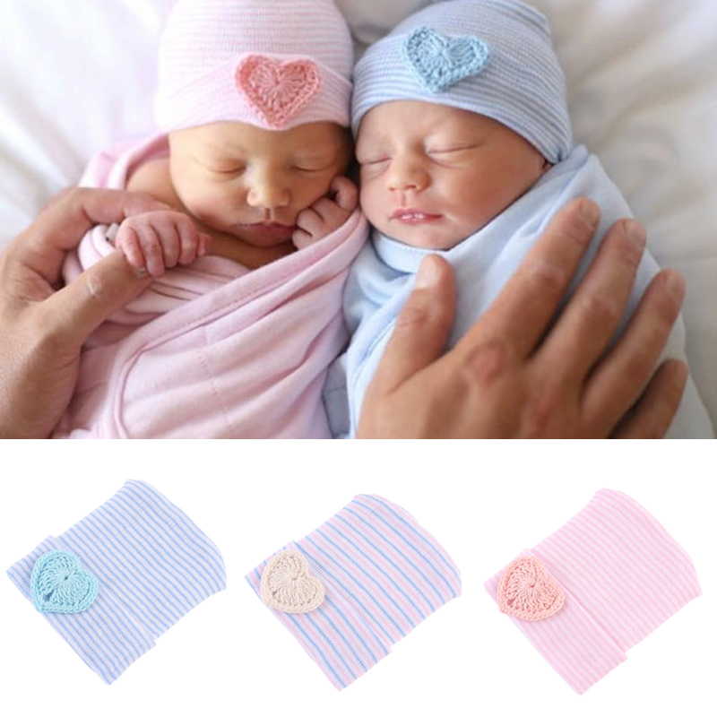 Newborn Baby Hat Soft Pure Cotton Infant Bebe Boy Girl Beanie Hospital Hat Heart Baby Knitted Bonnet Cap