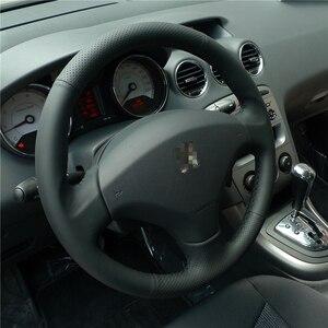 Image 3 - BANNIS 手縫い黒革ステアリングホイール Old プジョー 408/プジョー 308