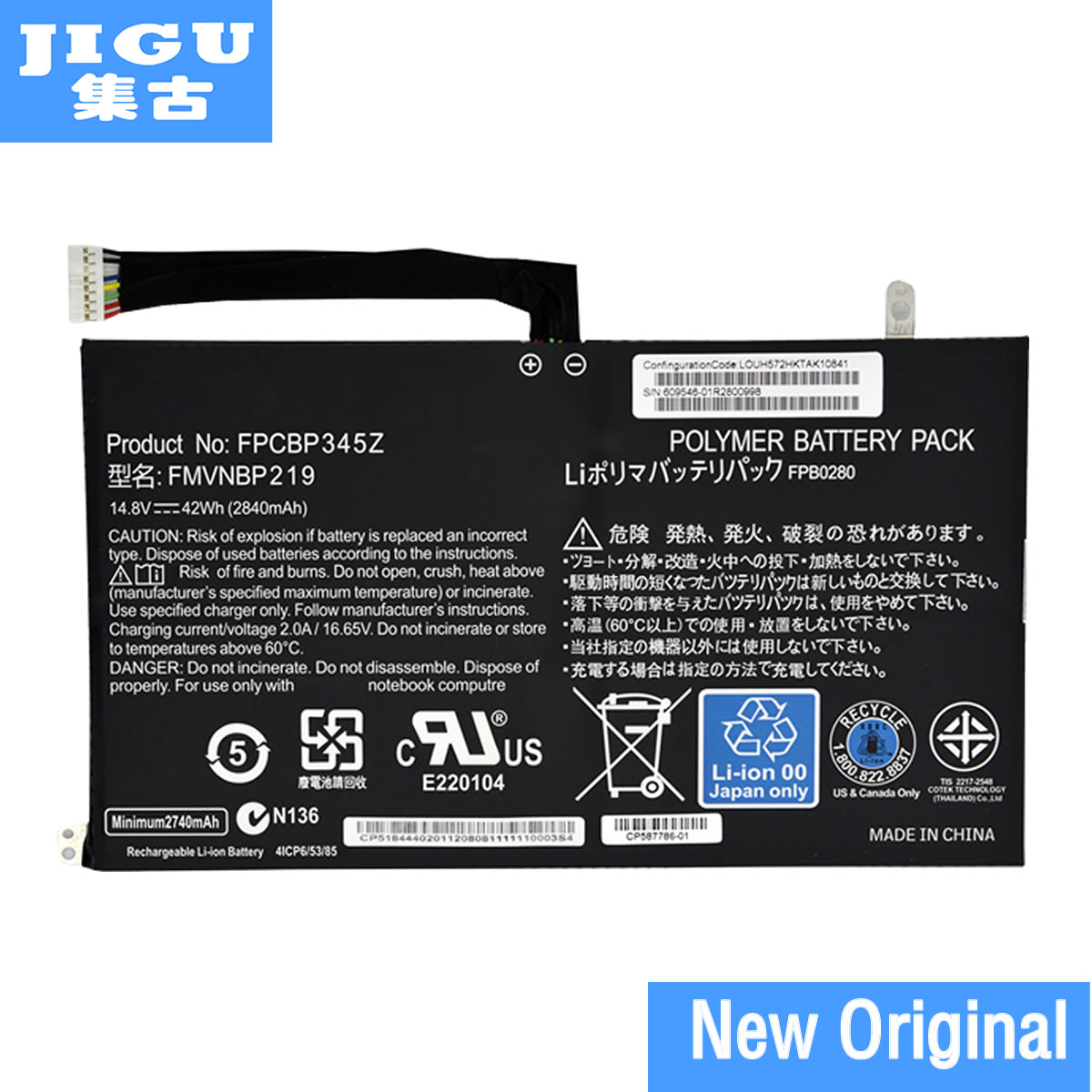 JIGU Original FPCBP345Z Laptop Battery For Fujitsu LifeBook UH572 UH552 Ultrabook FMVNBP219 FPB0280 FPCBP345Z 14.8V 2840mAh