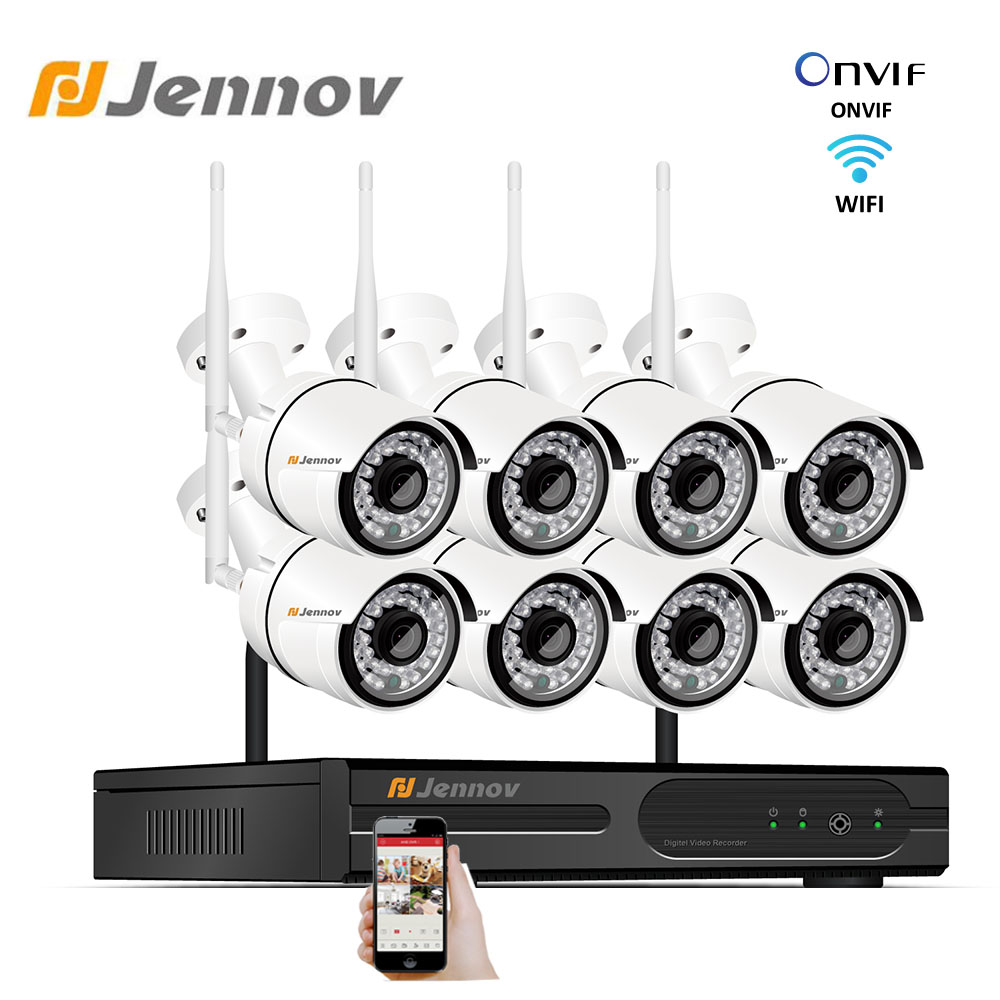 Jennov Wireless Security Camera System Set 2MP 8CH Wifi CCTV Outdoor IP66 Waterproof Camera NVR HD Video Surveillance P2P Kit