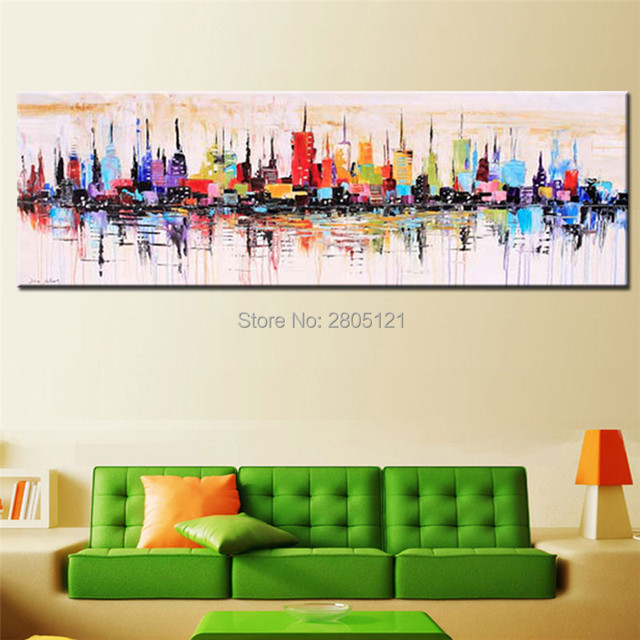 Hand Painted Modern Fashion Decorative Oil Painting Large Long Abstract Canvas  Wall Art Colorful Wall Paintings