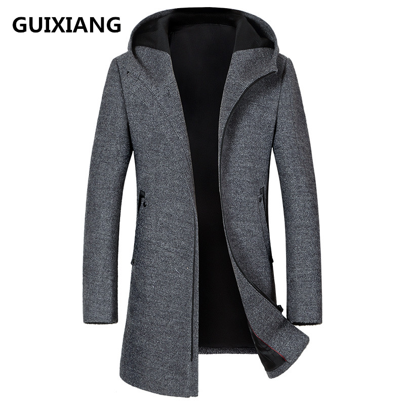GUIXIANG 2018 autumn new style casual hooded woolen trench coat jackets men windbreak
