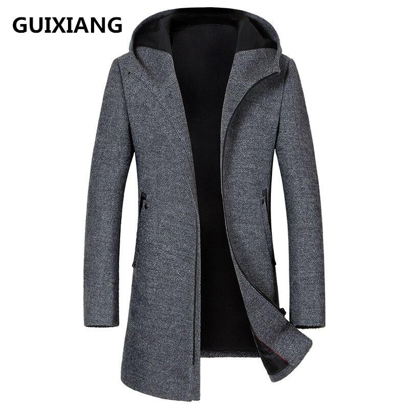 2018 autunno nuovo stile degli uomini di alta qualità di modo casuale degli uomini giacca con cappuccio di lana trench giacche uomini cappotto frangivento