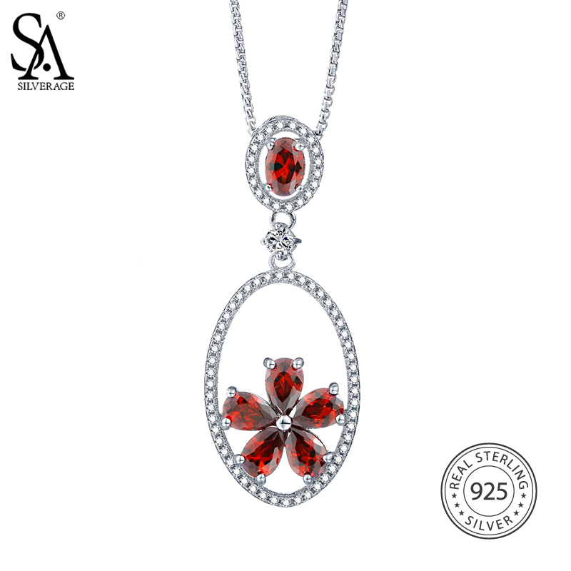 SA SILVERAGE Women Vintage Ruby Necklaces 925 Sterling Silver Gemstone  Necklaces Party Diamond Pendants For Women Fine Jewelry afb72a0723