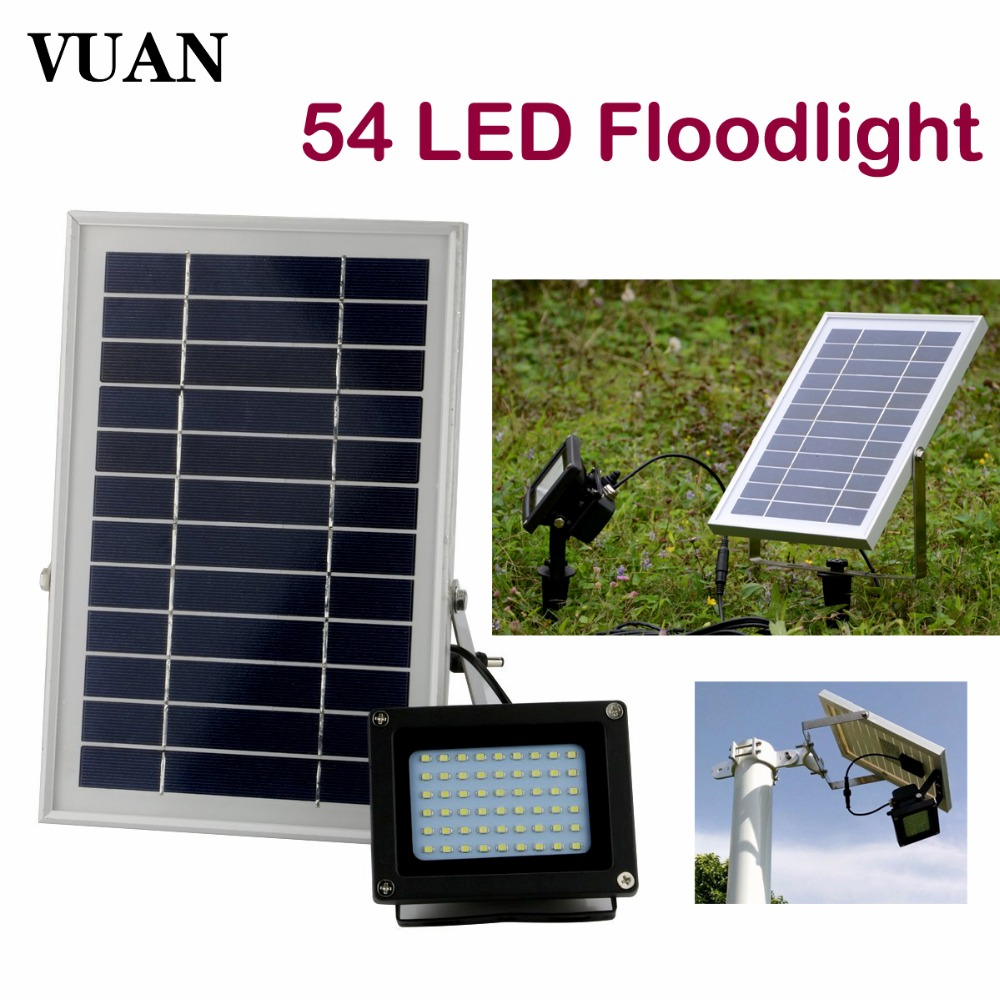Solar Powered Floodlight Spotlight Outdoor Waterproof 54led 400 Lumen Security Led flood light Lamp for Home Garden Lawn Pool ultrathin led flood light 200w ac85 265v waterproof ip65 floodlight spotlight outdoor lighting free shipping