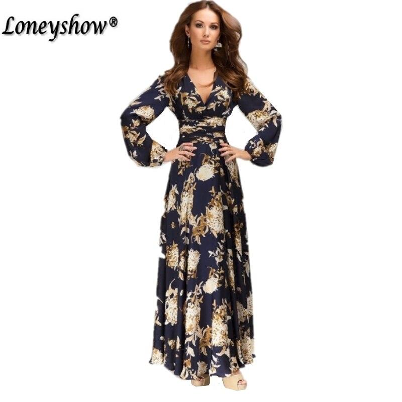 89730a6bdff Loneyshow women chiffon summer dress 2017 New Fashion Print Maxi Dress  Women Casual Elegant Floral Vintage Long Dresses