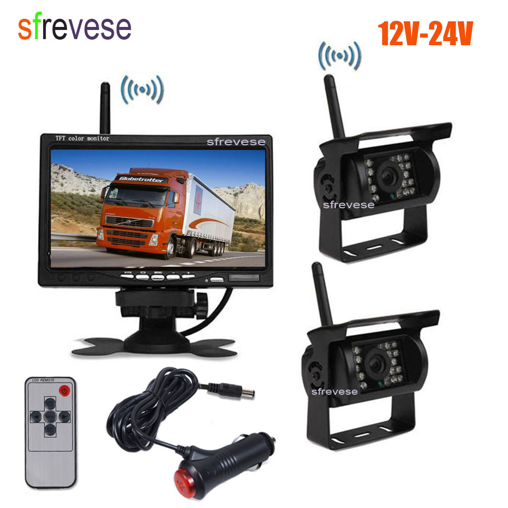 2x Wireless 18 IR LED Car Reversing Backup Parking Camera 7 LCD Monitor For Bus Truck