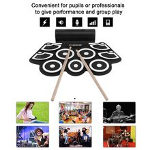 Digital Electronic Drum Built In Speaker Portable Electronic Roll Drum Pad Professional Foldable Practice Instrument(China)