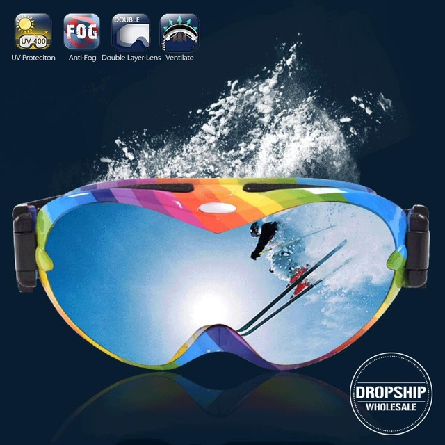Super COOL Men Ski Goggles Windproof Snowboard Eyewear UV 400 Anti-fog Women Snowmobile Skiing Glasses Double Coating Lenses