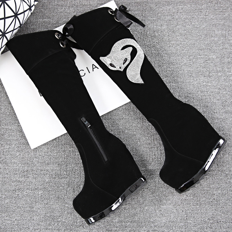 winter women new slim leg thick bottom drill high boots female fox beading high-heeled wedge knee-high lace up bow tie boots tie up pompons hidden wedge snow boots