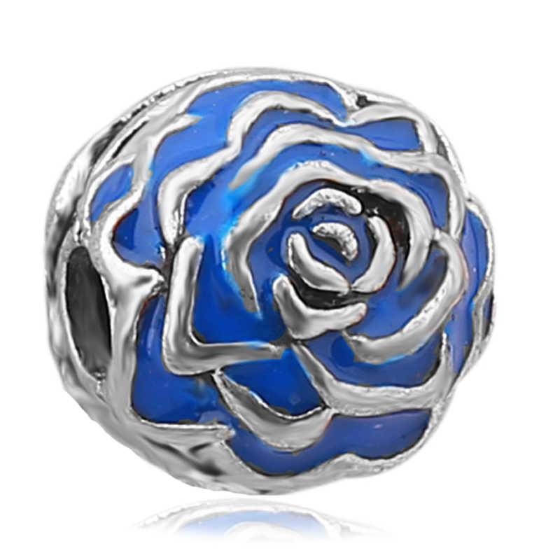 จัดส่งฟรีแฟชั่นสีน้ำเงินเข้มคลิปลูกปัดยุโรป Rose ดอกไม้ล็อค Charms Fit สร้อยข้อมือ PANDORA Charm
