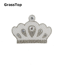 2017 New Crown Rhinestone Applique Patches Hot Fix Iron on DIY Shoes Bag Hat Phone Material Stone Accessories Costura