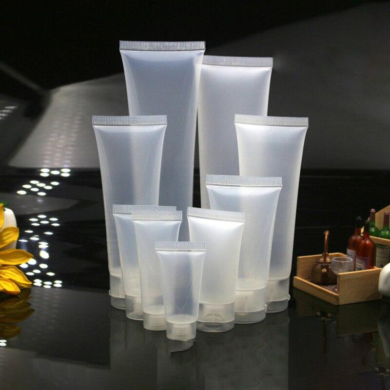 50 шт./лот, 5 мл, 10 мл, 15 мл, 20 мл, многоразовые бутылки, прозрачные мягкие трубки, пустой косметический крем, эмульсия, контейнер для упаковки ло...