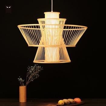 49 cm Bambu Rotan Naungan Anyaman Liontin Lampu Cina Asia Nordic Tergantung Rotan Lampu Lustre Desainer Pencahayaan untuk Foyer