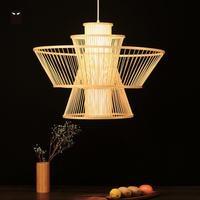 49cm Bamboo Wicker Shade Woven Pendant Light Fixture Chinese Asian Nordic Hanging Rattan Lamp Lustre Designer Lighting for Foyer